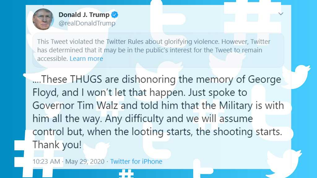Twitter Attaches Disclaimer to Trump's Minneapolis Tweet for 'Glorifying Violence'