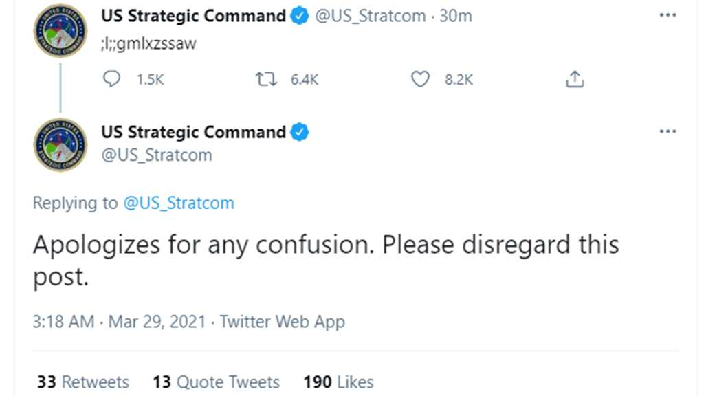 US Strategic Command Offers Apologizes After Posting Gibberish